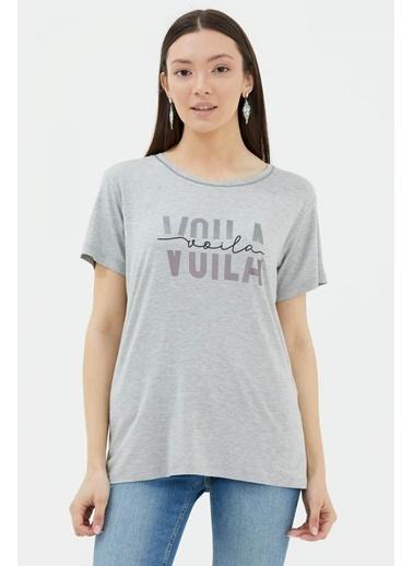 Sementa Baskılı Geniş Yaka Tshirt - Gri Gri